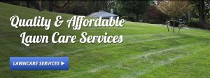 Affordable lawn care text on green lawn